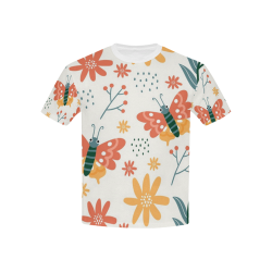 Butterflies and Flowers Kids' All Over Print T-Shirt with Solid Color Neck (Model T40)