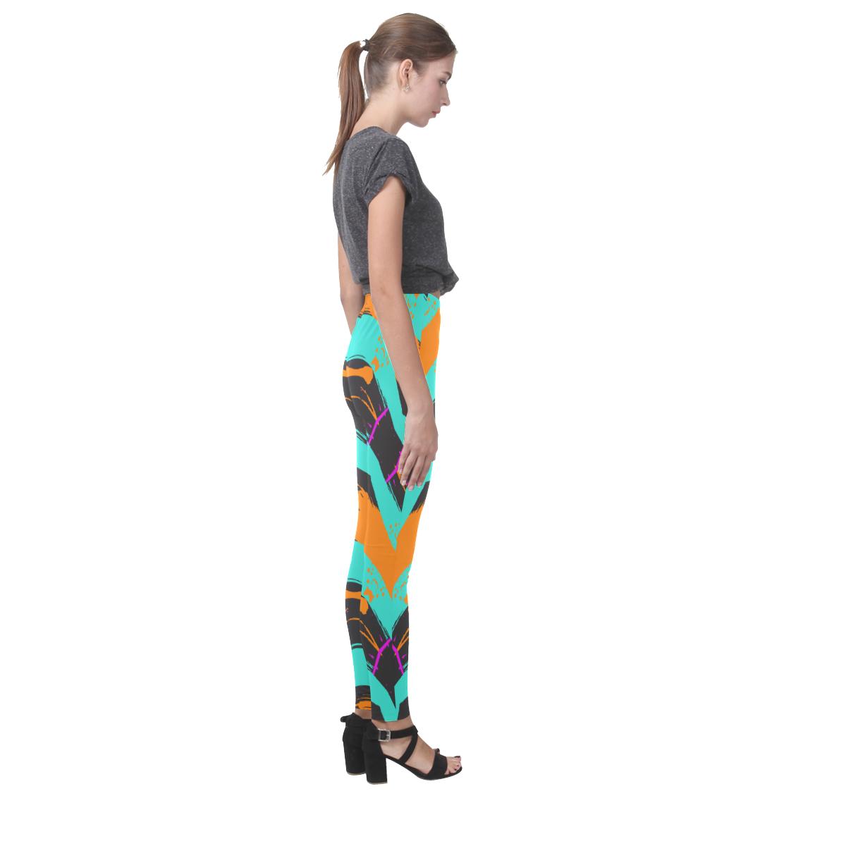 Blue orange black waves Cassandra Women's Leggings (Model L01)