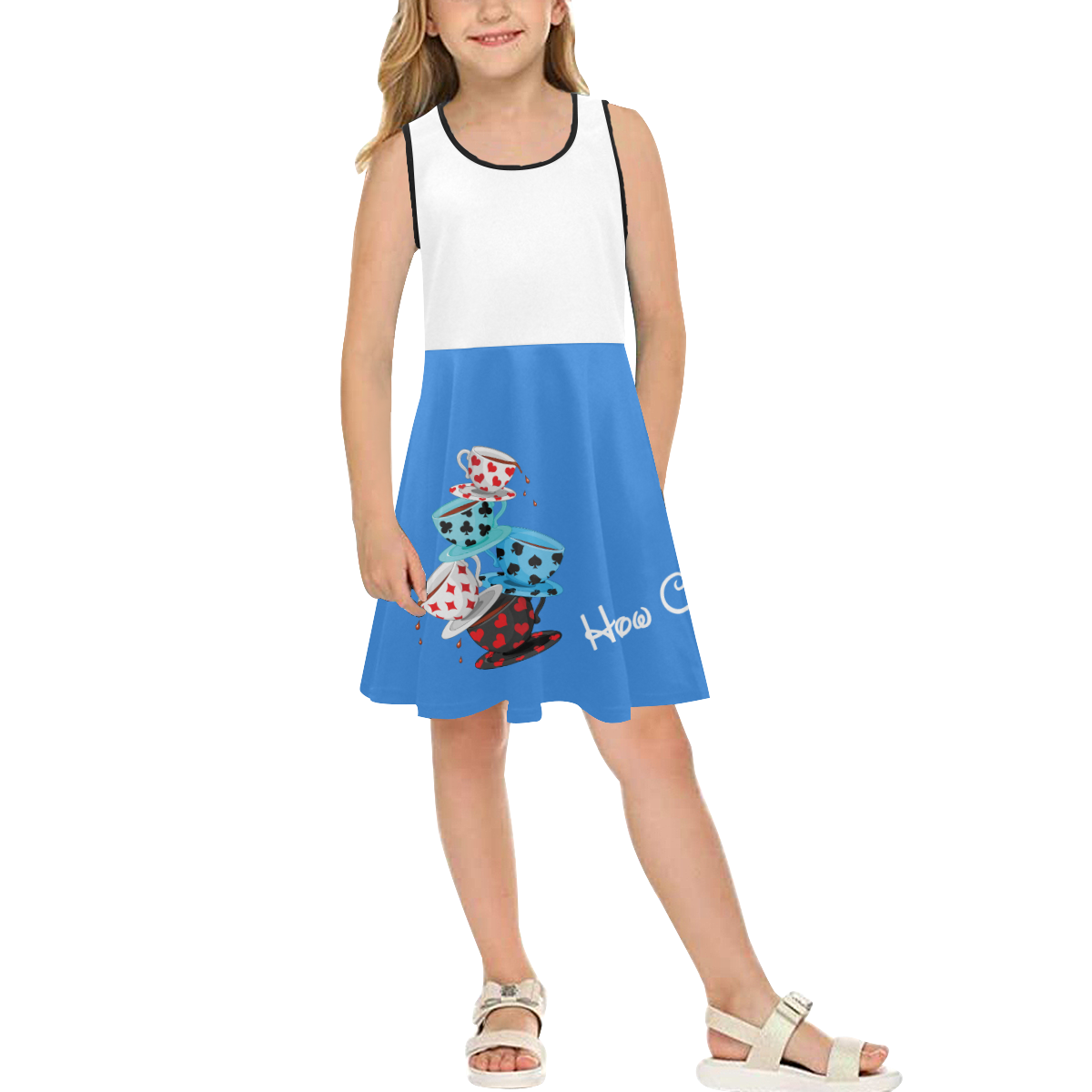 Teatime Alice Girls' Sleeveless Sundress (Model D56)