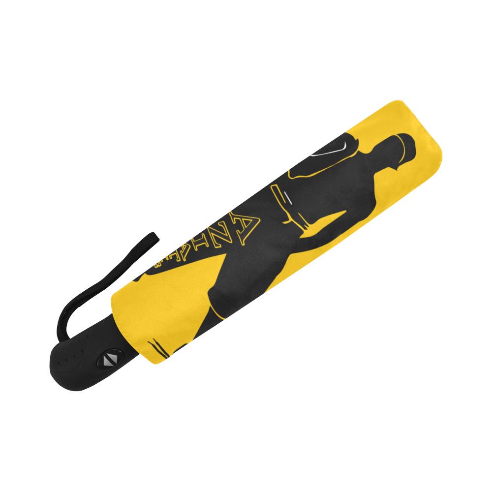 Aziatic Black & Yellow 69 Auto-Foldable Umbrella (Model U04)