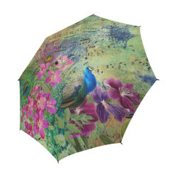 Fairlings Delight's Parasol Collection- Peacock Altered Art 53086a4 Semi-Automatic Foldable Umbrella (Model U05)