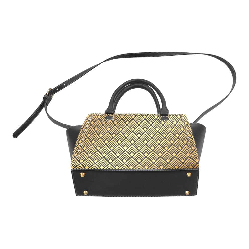 Gold Black Pattern Rivet Shoulder Handbag (Model 1645)