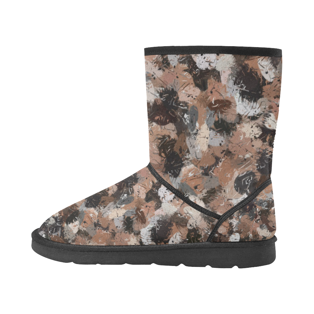 Black, Brown and Gray Paint Splatters Custom High Top Unisex Snow Boots (Model 047)