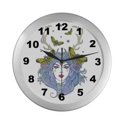 Goddess Sun Moon Earth Silver Color Wall Clock