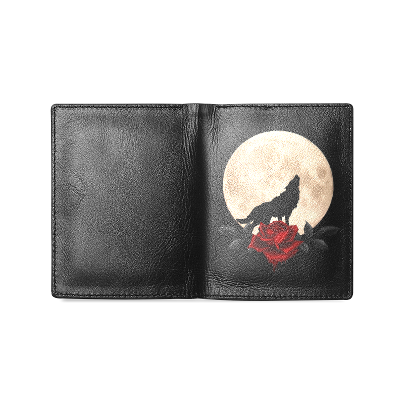 Gothic Wolf Full Moon Men's Leather Wallet (Model 1612)