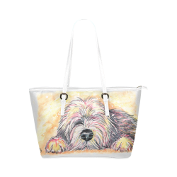 Afternoon Snoozes Leather Tote Bag/Small (Model 1651)
