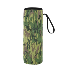 Military Camo Green Woodland Camouflage Neoprene Water Bottle Pouch/Large