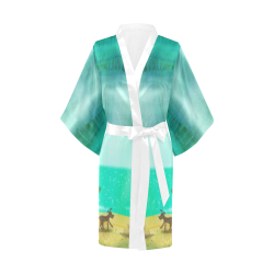 boy by the sea with dog summer time boat ocean water Kimono Robe