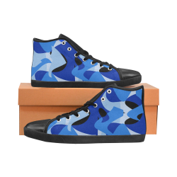 Camouflage Abstract Blue and Black High Top Canvas Kid's Shoes (Model 002)