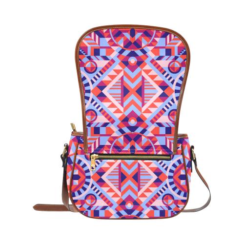 Modern Geometric Pattern Saddle Bag/Large (Model 1649)
