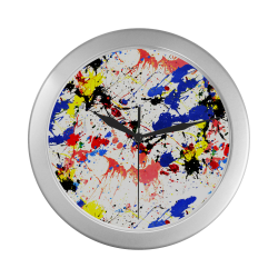 Blue and Red Paint Splatter Silver Color Wall Clock