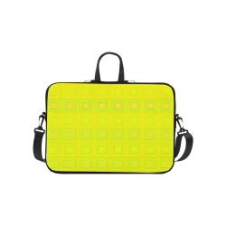 Yellow multicolored multiple squares Laptop Handbags 10""