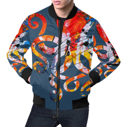 Je t`aime - Love trapped - steel blue All Over Print Bomber Jacket for Men (Model H19)