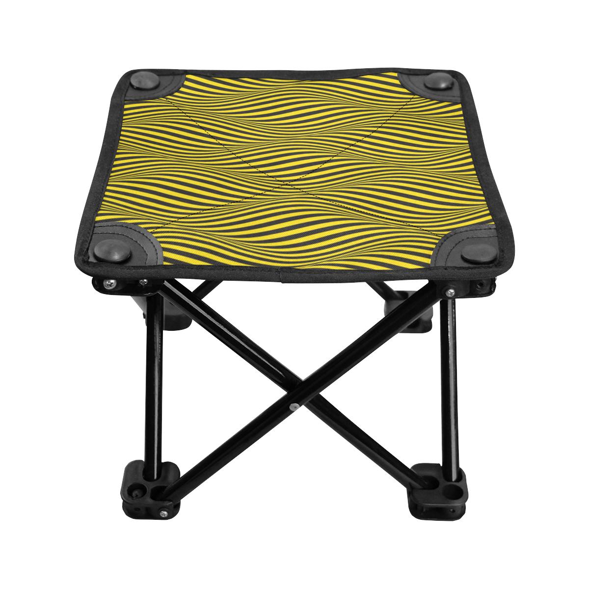Black and Yellow Wavy Stripes Folding Fishing Stool