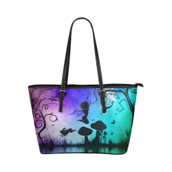 Happy fairy in the night Leather Tote Bag/Small (Model 1651)