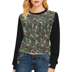 Woodland Forest Green Camouflage (Vest Style) Black Crop Pullover Sweatshirts for Women (Model H20)