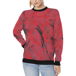 wheelVibe_8500 6 BOURNE MAROON JUICE low Women's Rib Cuff Crew Neck Sweatshirt (Model H34)