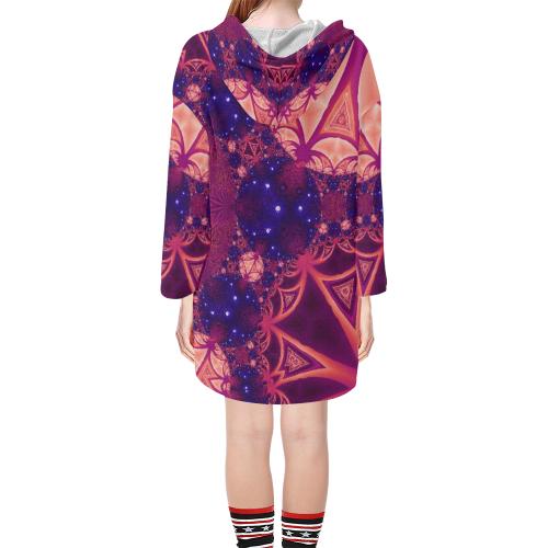 Moonlit Colourful Tropics Step Hem Tunic Hoodie for Women (Model H25)
