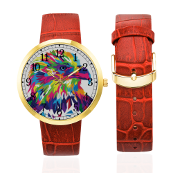 Rainbow Eagle Women's Golden Leather Strap Watch(Model 212)