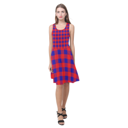 Red and Blue Checkered Atalanta Casual Sundress(Model D04)