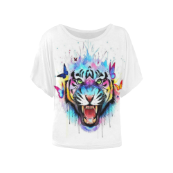 Butterfly Tiger Women's Batwing-Sleeved Blouse T shirt (Model T44)