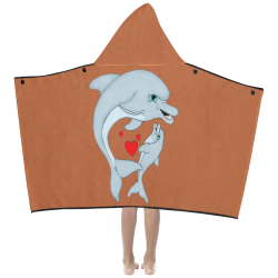 Dolphin Love Rust Kids' Hooded Bath Towels