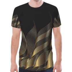 gold waves New All Over Print T-shirt for Men (Model T45)