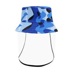 Camouflage Abstract Blue and Black Men's Bucket Hat (Detachable Face Shield)