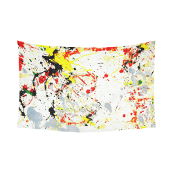 "Black, Red, Yellow Paint Splatter Cotton Linen Wall Tapestry 90""x 60"""
