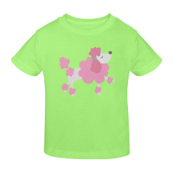 Pretty Pink Poodle Lt Green Sunny Youth T-shirt (Model T04)