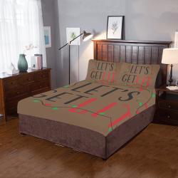 Lets GET LIT CHRISTMAS BROWN 3-Piece Bedding Set