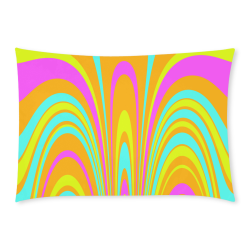 Groovy Retro Tangerine Turquoise Yellow Pink Custom Rectangle Pillow Case 20x30 (One Side)