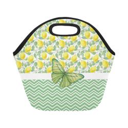 Butterfly And Lemons Neoprene Lunch Bag/Small (Model 1669)