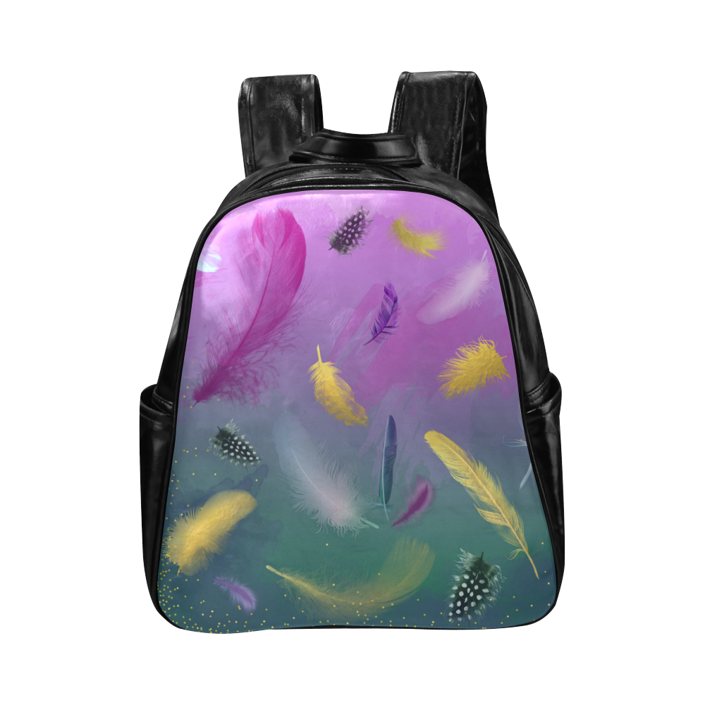 Dancing Feathers - Pink and Green Multi-Pockets Backpack (Model 1636)