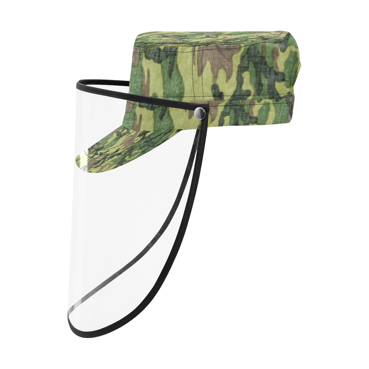 Military Camo Green Woodland Camouflage Military Style Cap (Detachable Face Shield)