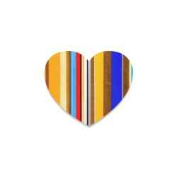 Colorful abstract pattern stripe art wood metal Heart Coaster