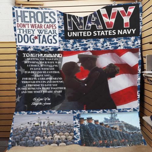 """Navy-Husband Quilt 70""""x80"""""""