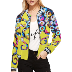 Environmentalist - Save the ocean, yellow All Over Print Bomber Jacket for Women (Model H21)