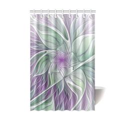 "Flower Dream Abstract Purple Sea Green Floral Fractal Art Shower Curtain 48""x72"""