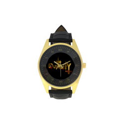 Duality Bloody Men's Golden Leather Strap Watch(Model 210)