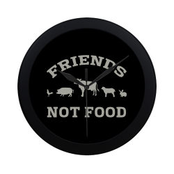Friends Not Food (Go Vegan) Circular Plastic Wall clock