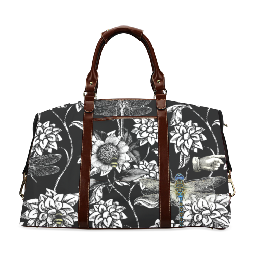 Black and White Nature Garden (dragonfly) Classic Travel Bag (Model 1643) Remake