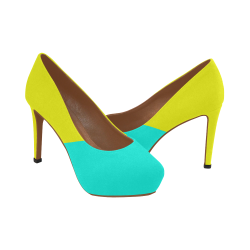 Bright Neon Yellow / Blue Women's High Heels (Model 044)