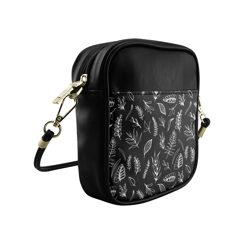 BLACK DANCING LEAVES Sling Bag (Model 1627)
