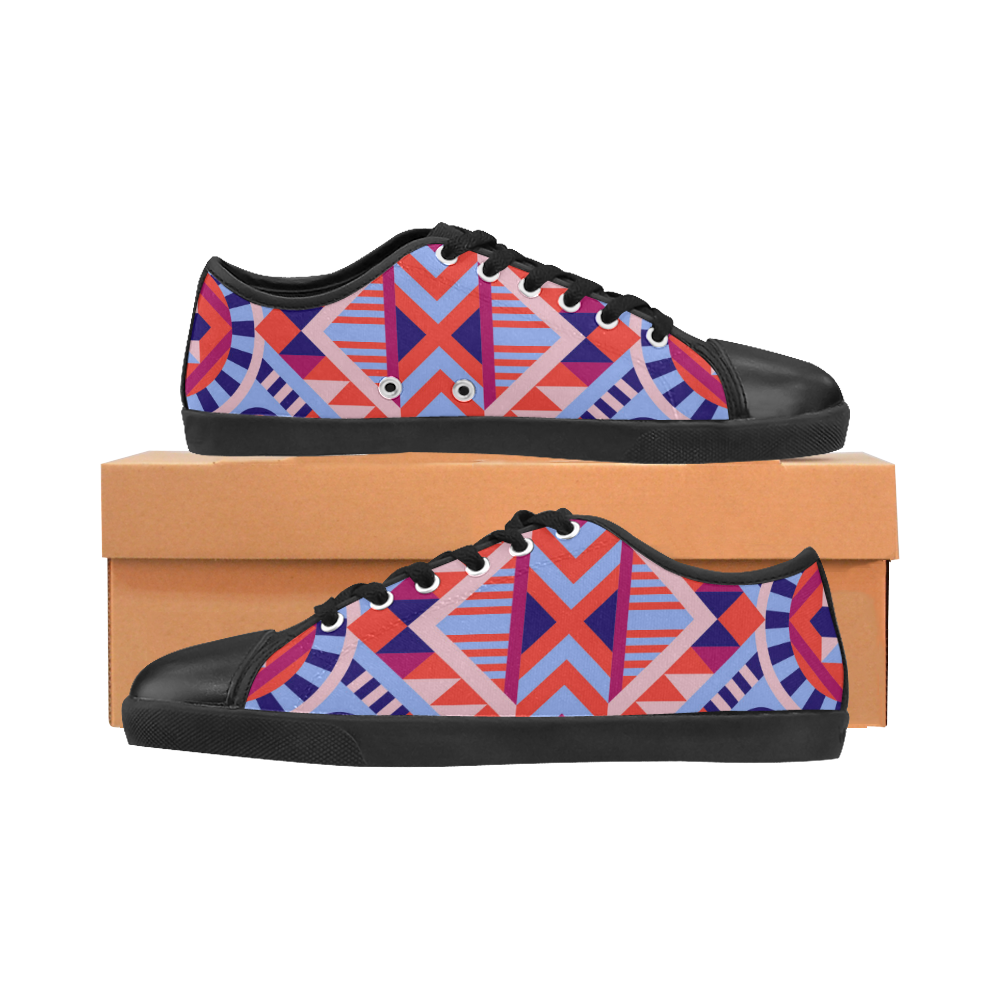 Modern Geometric Pattern Men's Canvas Shoes (Model 016)