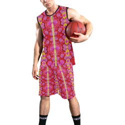 Roses and butterflies on ribbons as a gift of love All Over Print Basketball Uniform