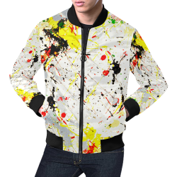 Yellow & Black Paint Splatter (Black Trim) All Over Print Bomber Jacket for Men (Model H19)