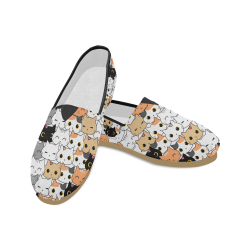 Cute Kitten Shoes, Cat Doodle Unisex Casual Shoes (Model 004)
