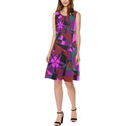 Abstract #13 2020 Sleeveless Splicing Shift Dress(Model D17)
