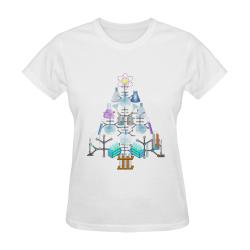 Oh Chemist Tree, Oh Chemistry, Science Christmas Sunny Women's T-shirt (Model T05)